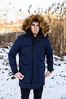 Мужская зимняя парка удлиненная с мехом синяя J.Style 201902 молодежная