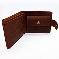 Кошелек кожаный мужской коричневый с монетницей, фото 2
