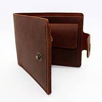Кошелек кожаный мужской коричневый с монетницей, фото 3