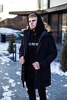 Мужская зимняя парка удлиненная с мехом черная J.Style 201902 молодежная