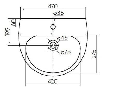 Умывальник с отверстием, с переливом 50*42 см (укр.) KOLO RUNA (L81150000), фото 2