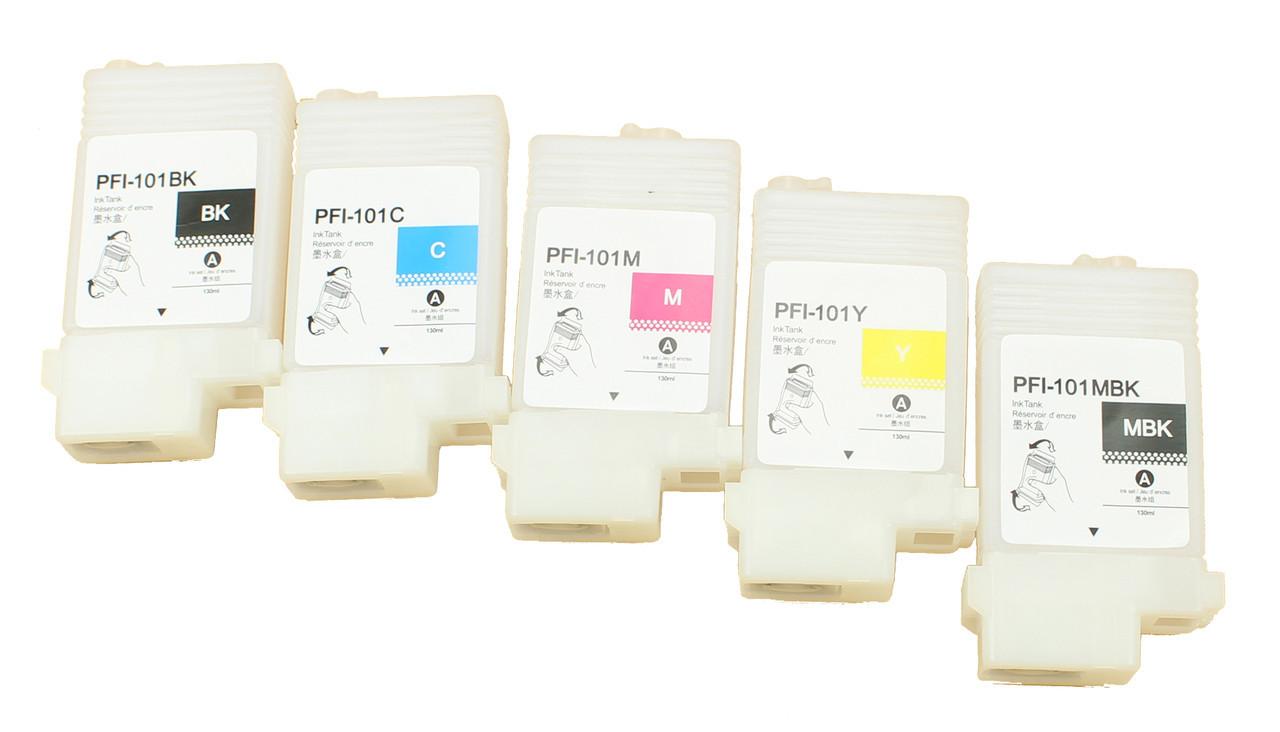 Перезаправляемые картриджи Ocbestjet для плоттеров Canon TM-200/300 с чипами PFI-120 (5 шт. по 130 мл)