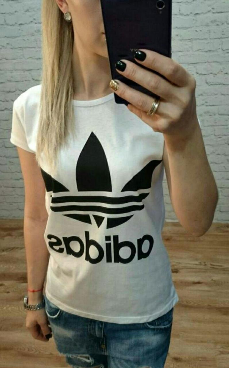 """Футболка женская хлопковая """"Adidas"""" реплика Турция размер S,M,L (от 3 шт)"""