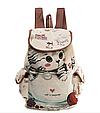 """Городской рюкзак """"Котенок в чашке"""" гобелен бежевый текстиль молодежный оригинальный средний  стильный ранец, фото 4"""