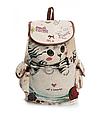 """Городской рюкзак """"Котенок в чашке"""" гобелен бежевый текстиль молодежный оригинальный средний  стильный ранец, фото 6"""
