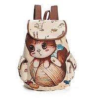 """Детский городской рюкзак """"Котенок на клубке"""" бежевый для девочки средний текстиль гобелен"""