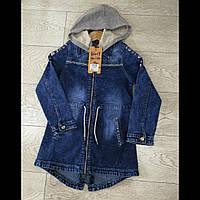 Подростковый джинсовый удленённый пиджак для девочек оптом GRACE