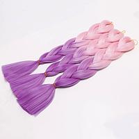 Канекалоновая коса омбре, бледно-розовый + сирень