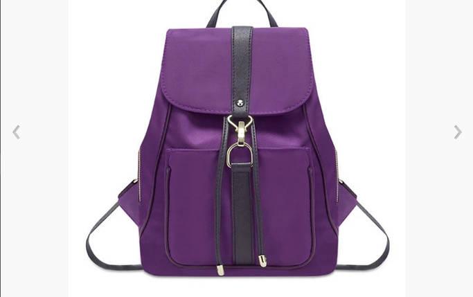 Молодіжний міський рюкзак текстильний жіночий чорний синій фіолетовий., фото 2