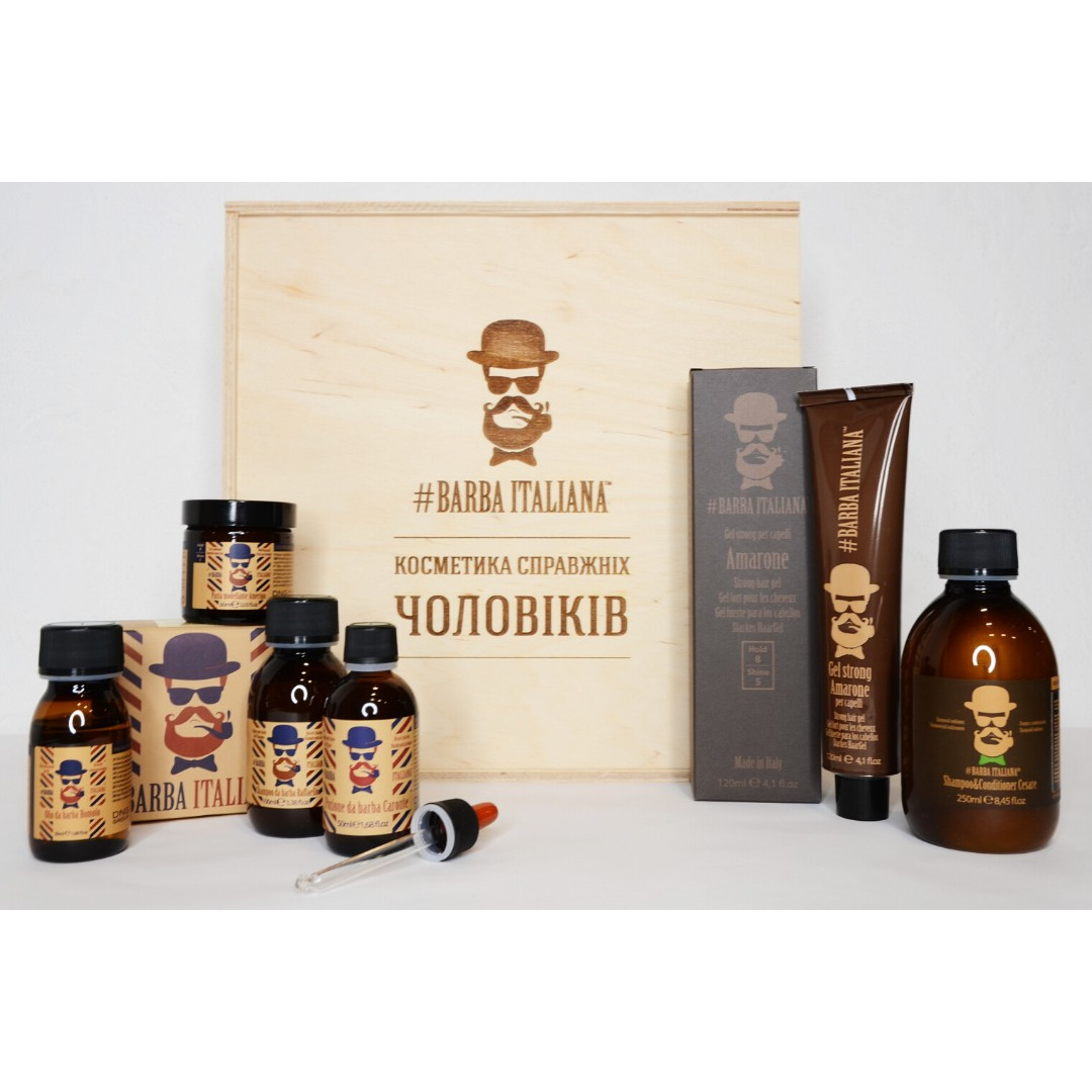 Мужской подарочный набор Barba Italiana для усов, бороды и волос из 6 продуктов в деревянной коробке