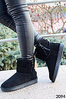 Женские ботинки в стиле UGG из натуральной замши черного цвета