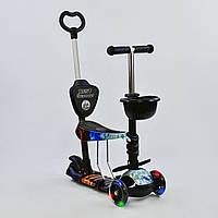 Самокат 5в1 детский трехколесный c сиденьем и ручкой Best Scooter, PU колеса, свет колеса 21500
