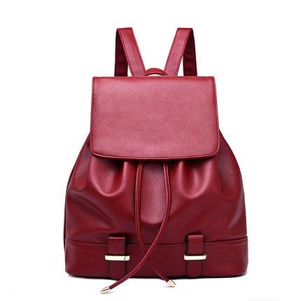 Жіночий міський рюкзак. Стильні жіночі рюкзаки в чотирьох кольорах: червоний, чорний, бежевий, синій, жовтий. Червоний, фото 2