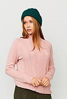 Женская зеленая вязаная шапка с отворотом
