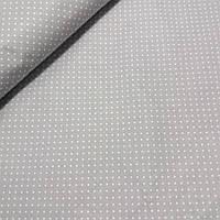 Тканина з білої точечкой 2 мм на сірому тлі, ширина 160 см, фото 1