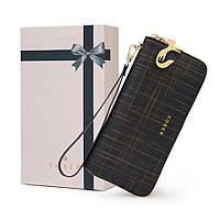 Кошелек клатч кожаный женский  Foxer в подарочной коробке  (черный)