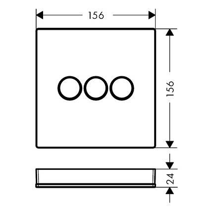 Модуль с тремя запорными клапанами, стеклянный, черный/хром, Hansgrohe ShowerSelect 15736600, фото 2