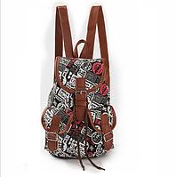 Стильный мини рюкзак городской женский малый текстиль гобелен