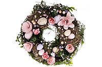 Декоративный пасхальный венок, цвет - розовый, 21см