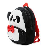 """Детский мини рюкзак для ма лышей """"Пандочка"""" маленький для садика мягкий велюр черно белый дошкольный унисекс"""