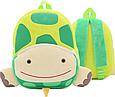 """Детский рюкзак для любимых малышей """"Черепашка"""" зеленый плюшевый для садика дошкольный маленький велюр унисекс, фото 2"""