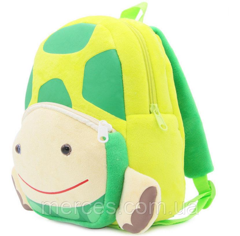 """Детский рюкзак для любимых малышей """"Черепашка"""" зеленый плюшевый для садика дошкольный маленький велюр унисекс"""