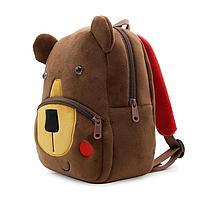 """Детский рюкзачок малышей """"Мишка"""" маленький для садика мягкий велюр дошкольный коричневый унисекс"""