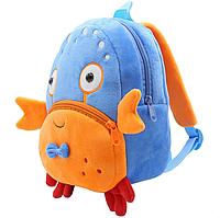 """Детский мини рюкзачок для малышей """"Краб"""" маленький для садика мягкий велюр унисекс дошкольный голубой"""