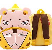 """Детский мини рюкзачок для малышей """"Леопард"""" маленький для садика мягкий велюр дошкольный розово желтый унисекс"""