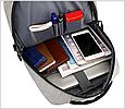 Рюкзак міський сірий з USB легкий Minimalist Urban 365, фото 4