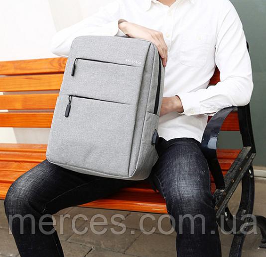 Рюкзак міський сірий з USB легкий Minimalist Urban 365