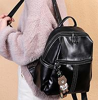 Черный ранец женский сумка рюкзак с потайным карманом искусственная кожа молодежная повседневная средняя