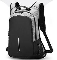 Рюкзак противоугонный серый с USB для зарядки замок с кодом 364А