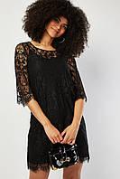 Черное шикарное кружевное платье