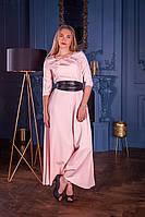 Длинное светлое платье на длинный рукав с поясом кушаком (S, M, L, XL)