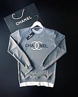 Мужской свитшот CHANEL серый с лого на груди (реплика)