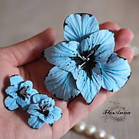 Комплект украшений с цветами. Голубые гладиолусы, фото 1