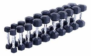Шестигранные прорезиненные гантели Hexagon от 1 до 10 кг