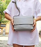 Кожаная сумка кросс-боди «Cross Gray» женская серая (25x19 см) с косметичкой ручной работы от pan Krepko