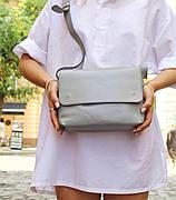 Шкіряна сумка крос-боді «Cross Gray» жіноча сіра (25x19 см) з косметичкою ручної роботи
