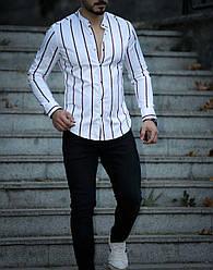 01-49-313 Рубашка в полоску на кнопках Rubaska