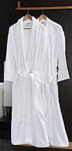 Халат  махровый  белый шаль , плотность 450 г / м2  , Турция .