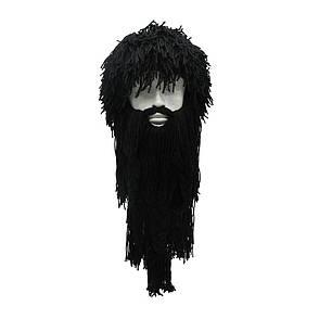 Зимова шапка вікінга з дредами і довгою бородою чорна, фото 2