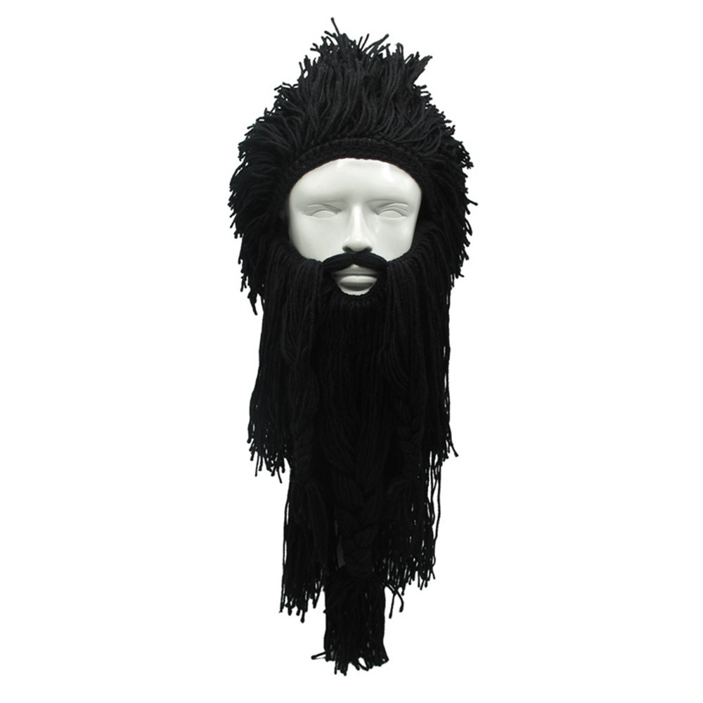 Зимова шапка вікінга з дредами і довгою бородою чорна