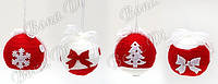 Елочная игрушка BDi 144-500 Шар 6см ткань красный+белый 4 дизайна уп36, фото 1