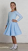 Рейтинговое платье Бейсик для бальных танцев Sevenstore 9102 Нежно голубой