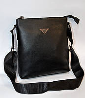 Мужская кожаная сумка через плечо Prada люкс среднего размера