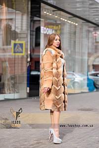 Длинная шуба из меха лисы, рукав трансформер