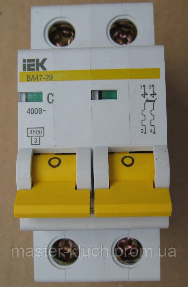 Автоматический выключатель IEK ВА 47-29 2Р С10А
