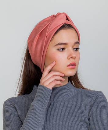 Замшевая повязка розовая, фото 2